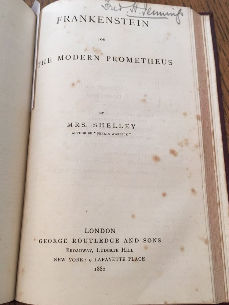 FRANKENSTEIN. Or, The modern Prometheus. Bound with; the life and adventures of Peter Wilkins. A Cornish man, relating particularly his shipwreck near the South Pole... etc. SHELLEY. MARY., PALTOCK. ROBERT.
