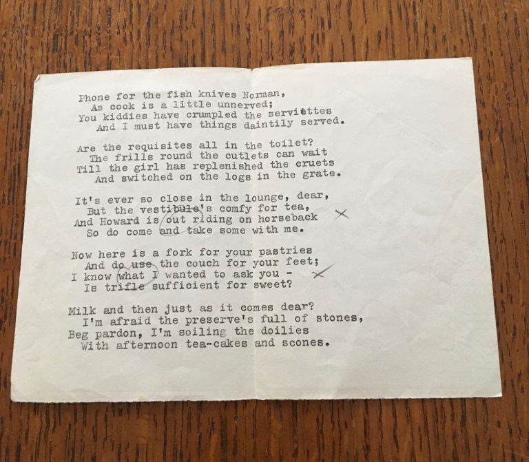 HOW TO GET ON IN SOCIETY. Typed early draft of the poem. BETJEMAN. JOHN.