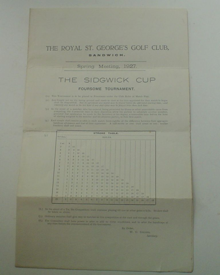 SPRING MEETING, 1927. THE SIDGEWICK CUP FOURSOME TOURNAMENT. SANDWICH THE ROYAL ST. GEORGE'S GOLF CLUB.