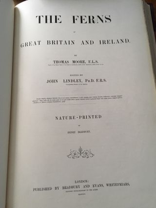 THE FERNS OF GREAT BRITAIN AND IRELAND. Nature-printed By Henry Bradbury. MOORE. THOMAS. -- LINDLEY. JOHN. Edits.
