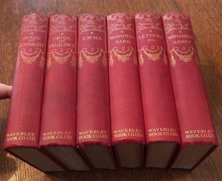 THE NOVELS. Six Volumes; Sense and Sensibility. - Pride and Prejudice. - Mansfield Park. - Emma. - Northanger Abbey and Persuasion. - Lady Susan, The Watsons, A Memoir and Letters. ---- The handy Library Edition. AUSTEN. JANE., Brock. C. E. illustrates.