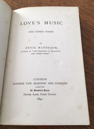 LOVE'S MUSIC AND OTHER POEMS.