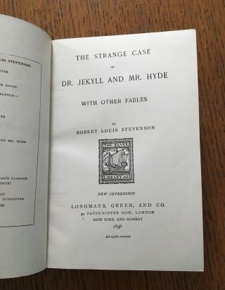 THE STRANGE CASE OF DR JEKYLL AND MR HYDE. With other fables.