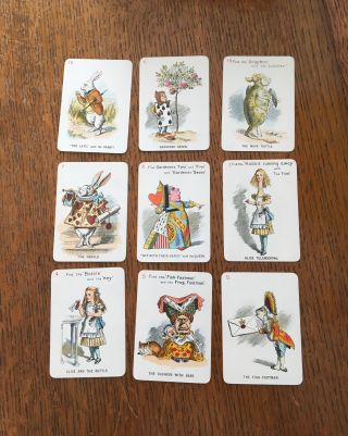 THE NEW AND DIVERTING GAME OF ALICE IN WONDERLAND. Consisting of forty-eight pictorial cards, Adapted, drawn in fac-simile, and elaborately rendered in colours, from Sir John Tenniel's original designs by Miss E. Gertrude Thomson.