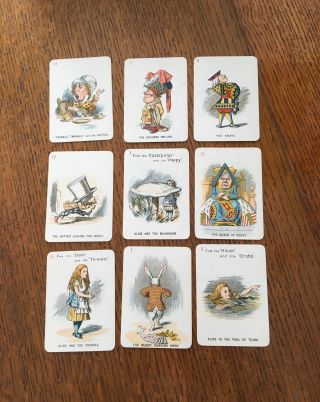 THE NEW AND DIVERTING GAME OF ALICE IN WONDERLAND. Consisting of forty-eight pictorial cards,...
