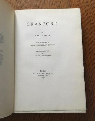 CRANFORD. With a preface by Anne Thackeray Ritchie.