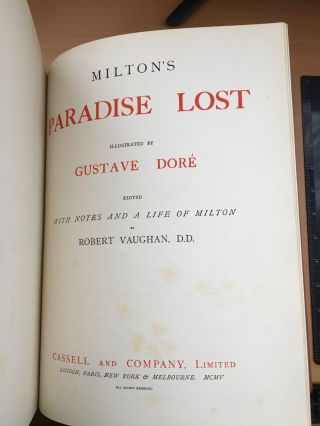 PARADISE LOST. Illustrated by Gustave Dore. -- Edited, with notes and a life of Milton by Robert Vaughan, D.D.