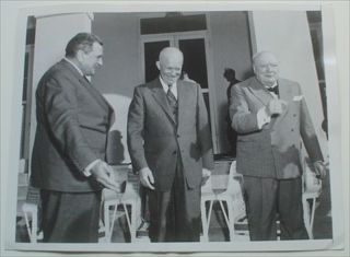 ORIGINAL PHOTOGRAPH. Prime Minister Winston Churchill , US President Eisenhower & French Premier Laniel looking relaxed and sharing a joke on the veranda at the Mid Ocean Club, Hamilton, Bermuda, December 4th, 1953. Churchill was in Bermuda for. CHURCHILL. WINSTON. SPENCER., Jurkoski. Frank. Photographer.