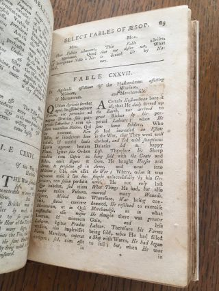 FABULAE AESOPI Selectae, or, Select FABLES OF AESOP. With an English Translation, more literal than any yet extant. Designed for the readier instruction of beginners in the Latin Tongue. The first Boston Edition, from a copy of the latest Edition printed in London.