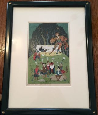 WATER COLOUR PAINTING OF SNOWDROP (SNOW WHITE) AND THE SEVEN DWARVES. Original watercolour...