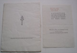 CATALOGUE OF DRAWINGS & ENGRAVINGS BY ERIC GILL. Alpine Club Gallery. 5th to 14th May A. D. 1918.