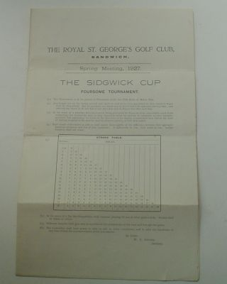 SPRING MEETING, 1927. THE SIDGEWICK CUP FOURSOME TOURNAMENT. SANDWICH THE ROYAL ST. GEORGE'S GOLF...