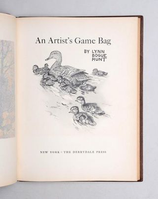 AN ARTIST'S GAME BAG. With Original watercolour.