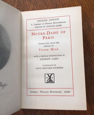 NOTRE DAME OF PARIS. Translated from the French of Victor Hugo with a critical introduction by Andrew Lang.