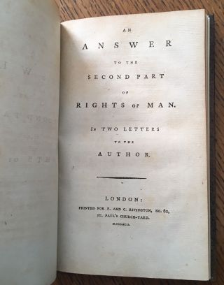 AN ANSWER TO THE SECOND PART OF RIGHTS OF MAN. In two letters to the Author. PAINE. THOMAS