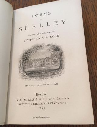 POEMS OF SHELLEY. Selected and arranged by Stopford A. Brooke. ---- The Golden Treasury series.