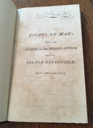 RIGHTS OF MAN. Bound with RIGHTS OF MAN; PART THE SECOND. Combining Principle and Practice. Third and Fifth editions.